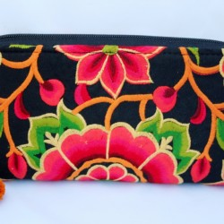 Embroidered Black and Orange Floral Ivy Ladies Zipped Purse