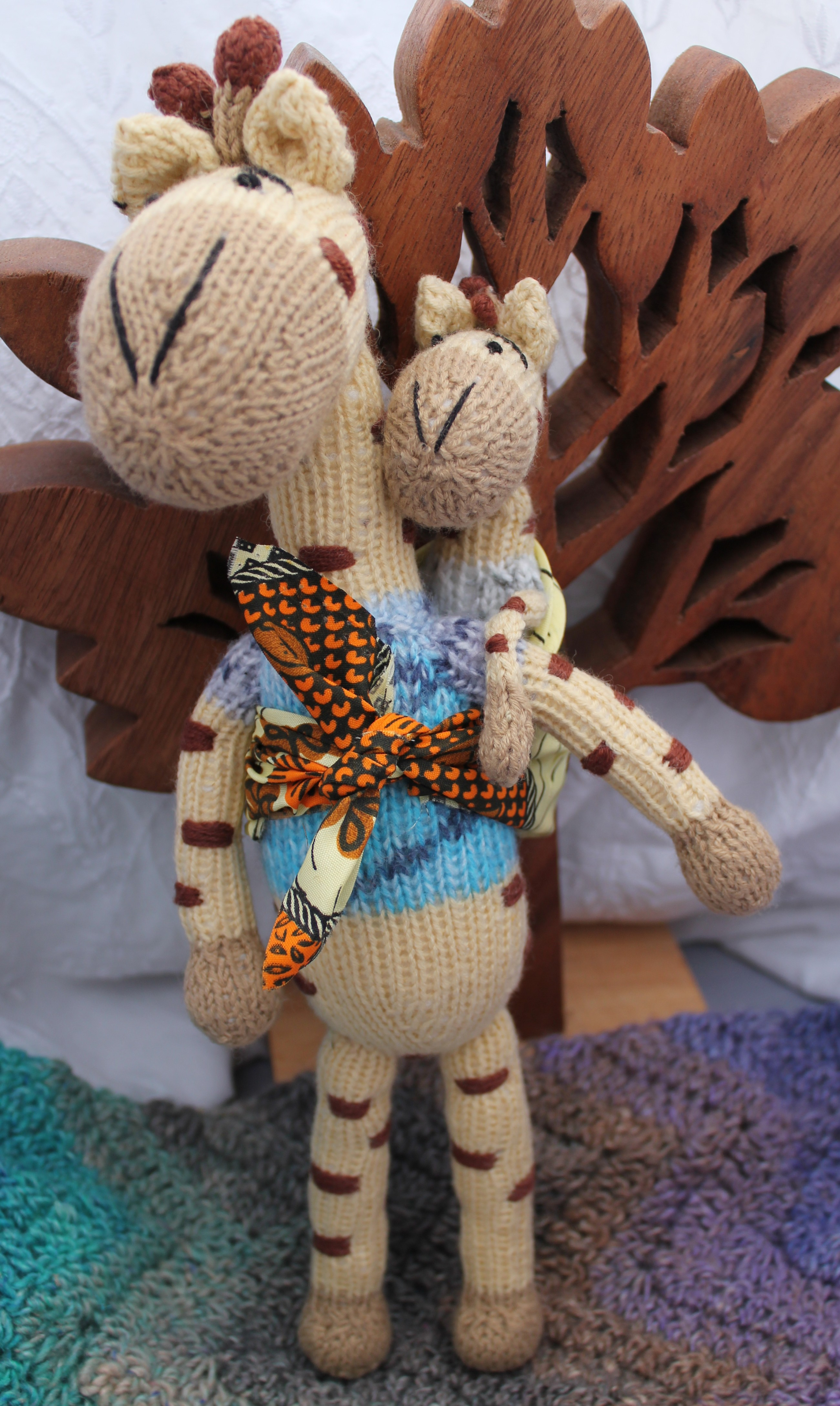 Handknitted Fair Trade Giraffe Mother and Baby