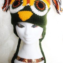 Orange Owl Animal Beanie