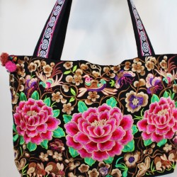 Embroidered Pink Camellia Bag