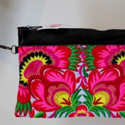 Embroidered Pink Dahlia Bag with leather