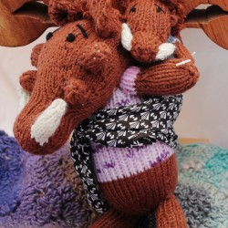 Handknitted Warthog mother and Baby