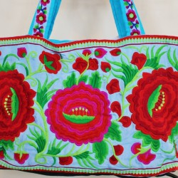 Fair Trade Embroidered Blue Roses Bag